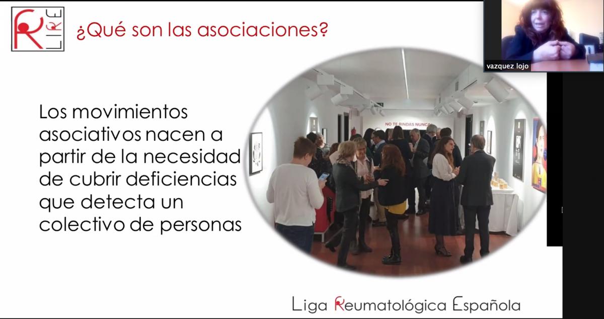 La Presidenta de Liga Reumatológica Española durante la presentación online